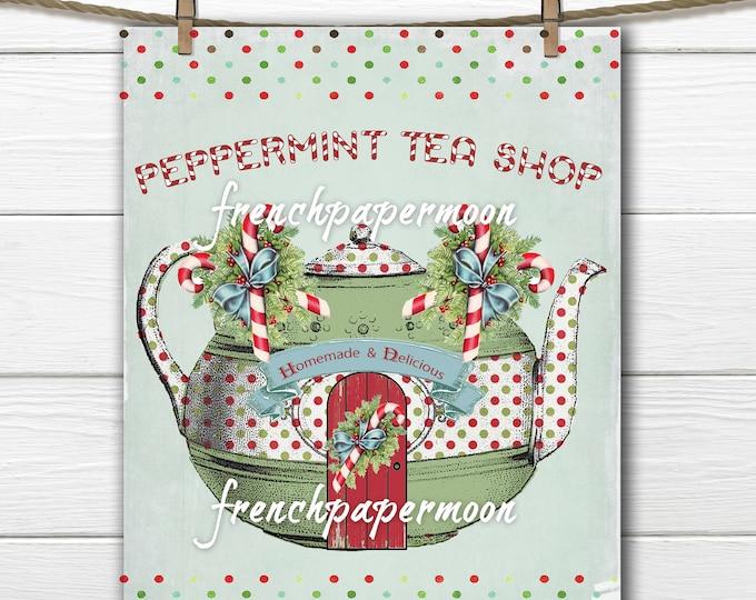 Adorable Digital  Christmas Tea shop, Teapot, Candy Canes, Polka Dots, PNG, JPEG, Christmas Decor, Crafts