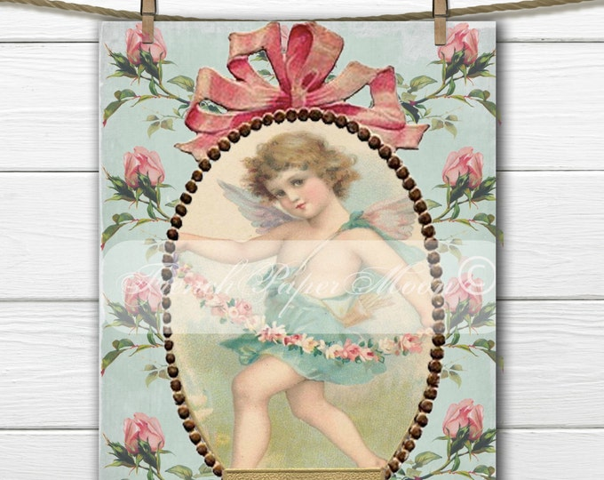 Victorian Digital Shabby Chic Cherub, Vintage Angel, Roses, Valentine Pillow Transfer Graphic Printable