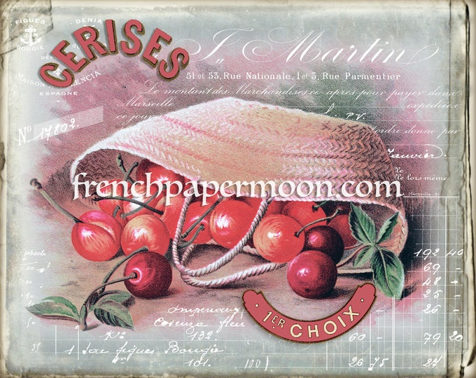 Shabby French Cherry Graphic, Basket of Cherries, Pillow Image, Iron on Fabric, Decoupage, Antique Cherry Printable, Crafts, Transfer