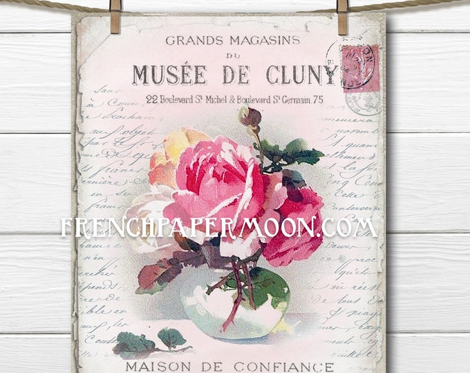 Shabby Victorian Rose Printable French Graphics Vase Roses Pink Instant Digital Download Fabric Transfer Image