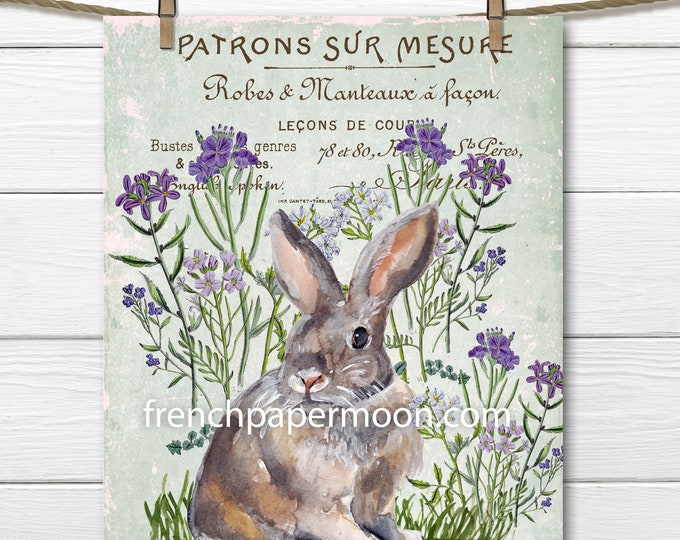 Digital French Bunny Rabbit, Easter Bunny Printable, Vintage Wildflowers, Spring Bunny, Large Size Graphic Transfer, Pillow Image