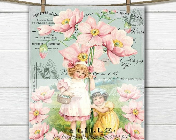 Digital French Spring, Vintage Girls, Flowers, Butterflies, French Pillow Graphic Transfer Image, Instant Download