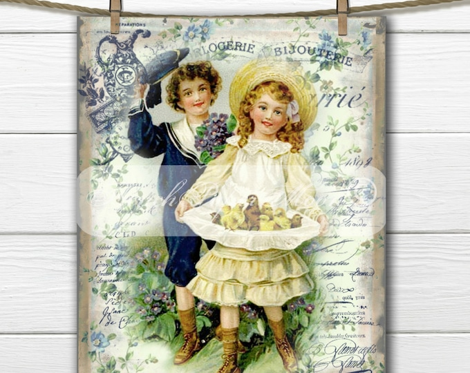 Shabby Chic Victorian Children, Easter Chicks, French Typography, Easter Pillow Image, Iron On Fabric, Instant Download