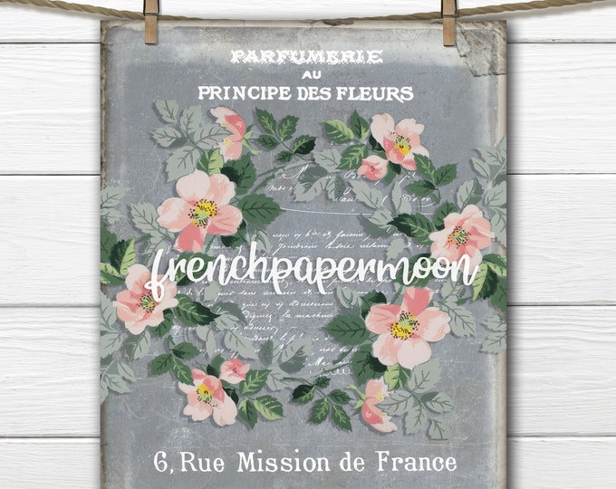 Vintage Shabby Wallpaper Flowers French typography  ephemera  graphic transfer digital print fabric transfer crafts large image