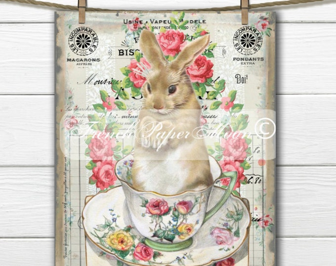 Vintage Shabby Digital Teacup Bunny, French Easter Bunny, French Bunny Pillow Image, Graphic Transfer, Easter Pillow, Printable Bunny