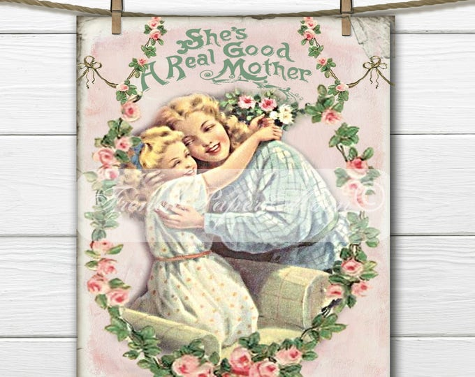 Shabby Mothers Day, Instant Digital Download, Printable Graphic Transfer Image, Mother's Day Crafts, Mother and Child
