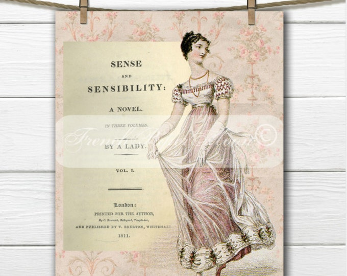 Jane Austen Digital Collage, Printable Download, 1800 Regency fashion, Sense and Sensibility Book Print, Digital Graphic
