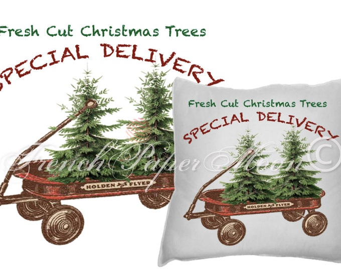 Digital Christmas Wagon with Tree, Hand-Drawn Red Wagon, Christmas Pillow Image, Instant Download Printable Xmas Transfer Graphic
