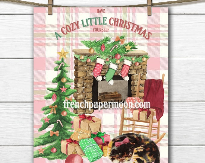 Cozy Christmas Digital, Large Size and Mini, Christmas Cat, Christmas stocking, fireplace, Christmas tree, Xmas Printable image