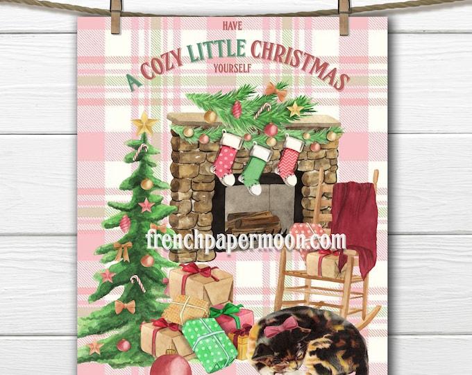 Cozy Christmas Digital, Large Size and Mini, Christmas Cat, Christmas stocking, fireplace, Christmas tree, Xmas Printable image