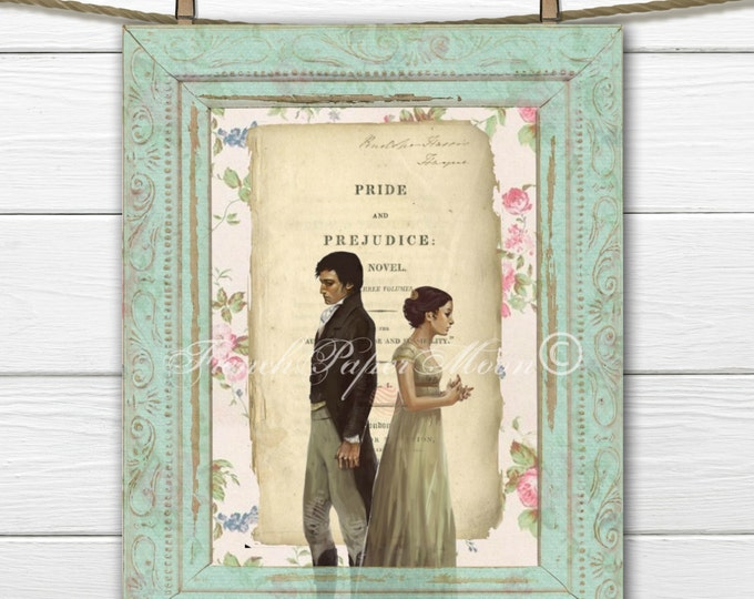 Shabby Jane Austen, Pride and Prejudice Digital Image, Jane Austen Digital Sheet, Regency Collage, Digital Download, Printable Austen