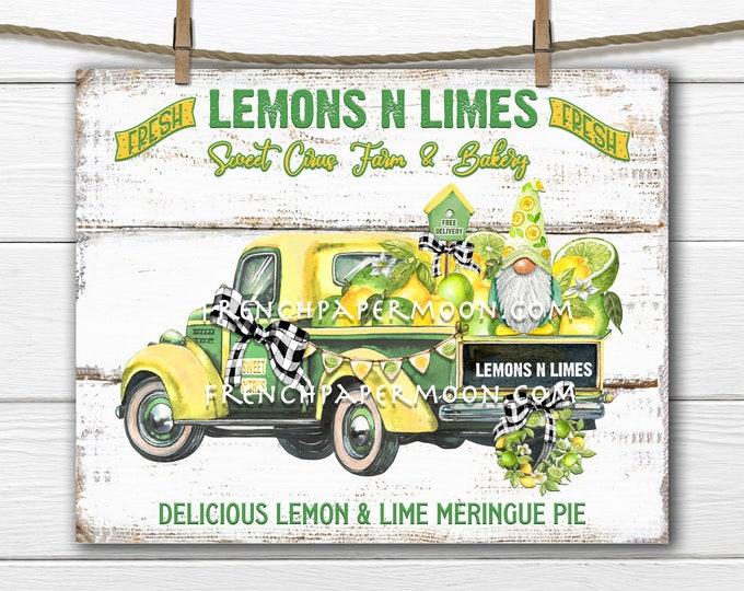 Farm Truck, Farmhouse Lemons, Limes, Lemon Gnome, Digital Fruit Truck, Fabric Transfer, Pillow Image, Tiered Tray Decor, Tea Towel, DIY Sign
