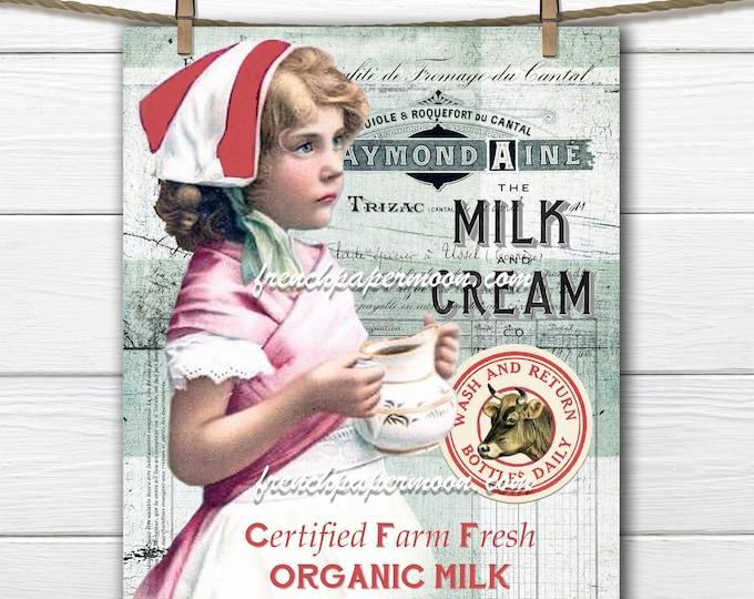 Vintage Dairy Farm Printable, MilkMaid, Milk Bottle Top, Old fashioned Milk Graphics, Farmstyle, Farmhouse, Plaid, Fabric Transfer