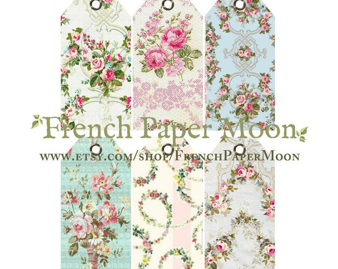 Digital Vintage French Wallpaper Tags, Printable Luggage Tags, Hang Tags, Instant Download