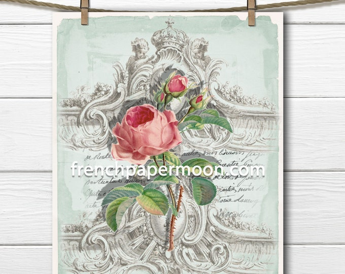 Victorian Rose French Graphic, Antique-style Shabby Rose Botanical Printable, Pink Rose, Digital Print, French Decor, Crafts