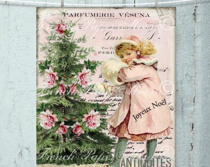 Shabby Pink Christmas Victorian Girl, Vintage Girl, Winter Scene Christmas Digital, Snow, Printable Christmas Image, Transfer, Xmas Print