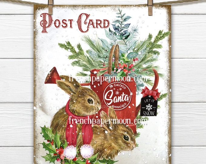 Cute Christmas Bunnies Digital, Snow Bunnies, Winter Animal, Xmas Greens, Scarf, Pillow Image, DIY Christmas Sign, Transparent, Print