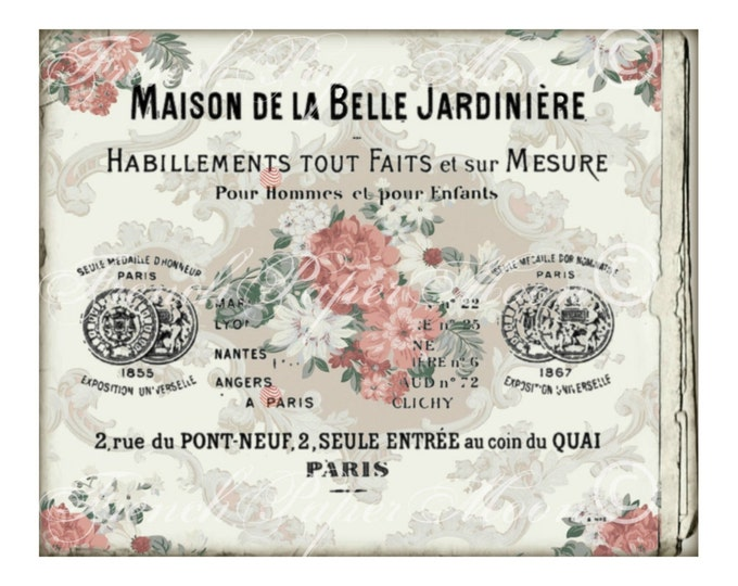 Digital French Card, Wallpaper Floral Background, Vintage Digital Download, French Business Card
