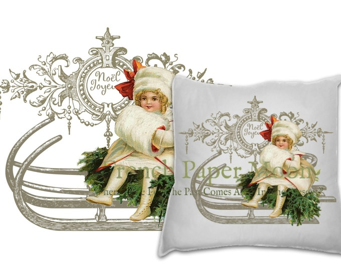 Adorable Digital Victorian Girl on Sled, Joyeaux Noel, French Christmas Pillow Transfer Graphic, Instant Download