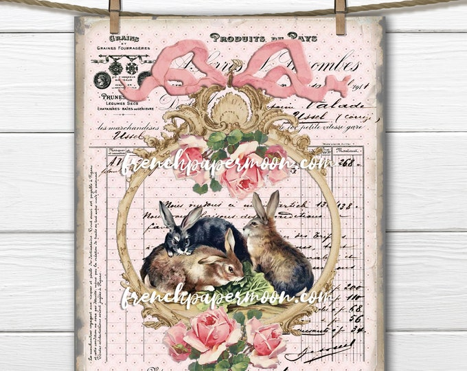 Framed Digital French Bunnies, Easter Bunnies, Spring Rabbit printable, French Pillow Image, Sublimation, Transparent, Instant Download
