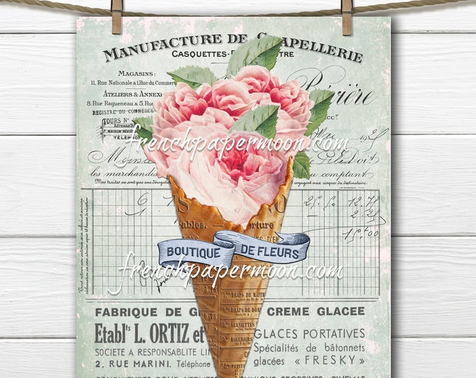 Shabby French Cabbage Rose Graphic, Ice-Cream Rose, Floral Cone, French Pillow Image, Vintage Pink Rose, Transparent, Digital Transfer Image