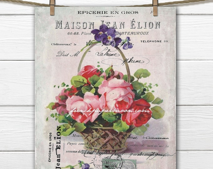 Digital Victorian Spring Basket of Roses, Printable Vintage Spring Graphic, Craft Supply, French Pillow Image, Decoupage, Fabric Transfer