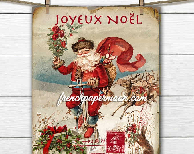 Vintage Rustic Santa on Bike, French Graphics, Instant Download, Christmas Pillows, Large Image Graphic Transfer