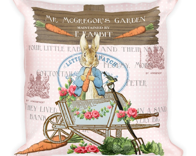"18"" Square Pillow Pink Peter Rabbit, Shabby Beatrix Potter, Peter Rabbit Pillow, Nursery Decor"