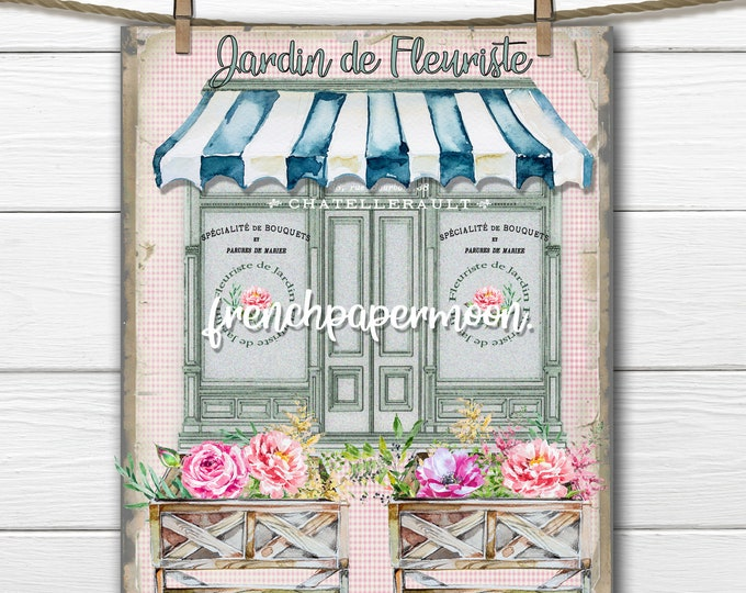 French Flower Shop French Florist Printable, French Graphic, Pillow Image, Shopfront, Flower Store, Craft Supply, JPEG PNG