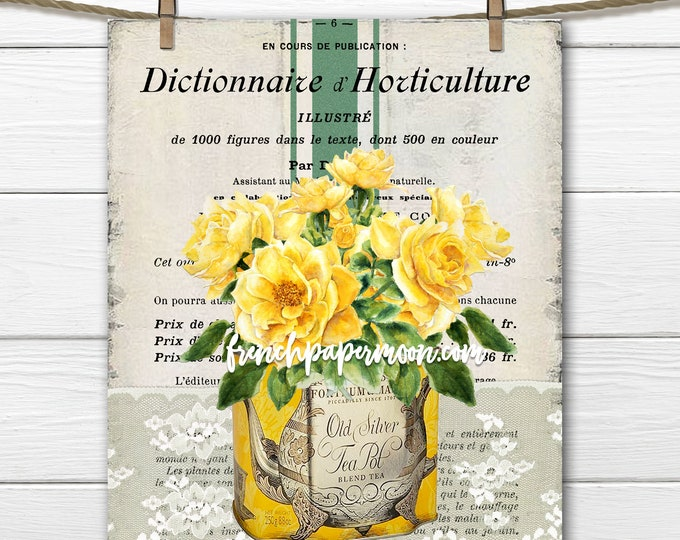 Shabby Yellow Rose Printable, Mothers Day, Shabby Roses, French Pillow Image, Sublimation, Transparent, Instant Download Transfer