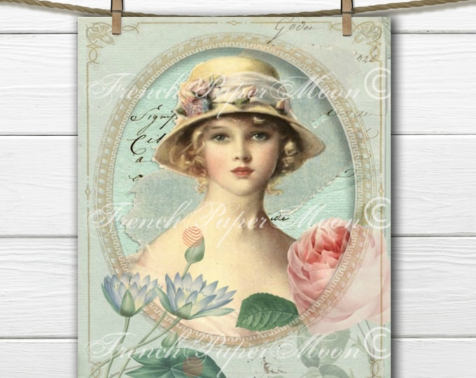 Digital Shabby French Lady with Roses, Vintage Portrait, French Pillow Digital Graphic Transfer Image Instant Download