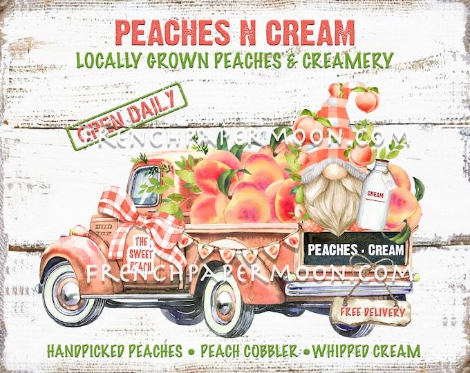 Gnome Truck, Peaches, Modern Farmhouse, Pickup, Peaches n Cream, DIY Peach Sign, Pillow Image, Tiered Tray Decor, Fabric TransferWood PNG