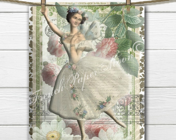 Digital Shabby Chic Fairy with Roses, Digital Fairy Collage, Fairy Printable, Instant Download Pillow Transfer Graphic