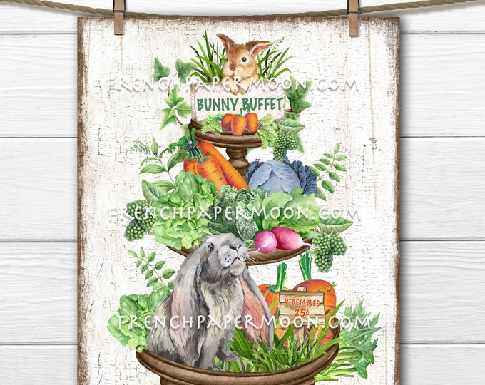 Farmhouse Bunny Tiered Tray, Spring Rabbit, Vegetable Patch, Carrots, DIY Easter Sign, Fabric Transfer, Sublimation, Wreath Decor, Wood, PNG