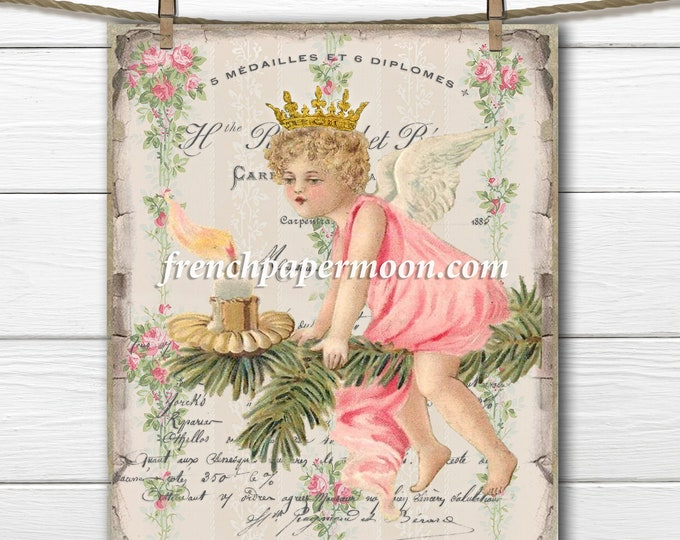 Printable Christmas Tree Fairy, Christmas Angel, French Christmas Pillow, Vintage Christmas Digital Graphic, Instant Download