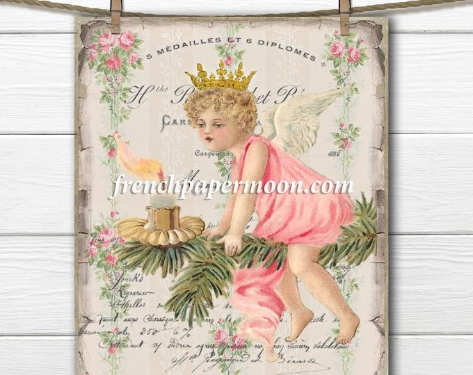 Printable Christmas Tree Fairy, Christmas Angel, French Christmas Pillow, Vintage Christmas Digital Graphic, Instant Download