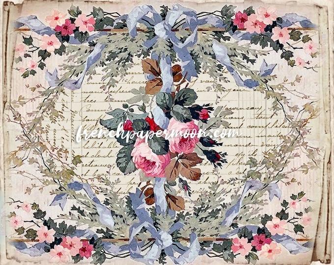 Digital French Ephemera Roses, Victorian Wallpaper Printable, French Pillow Image, Vintage Rose Garland Graphic, Scrapbooking