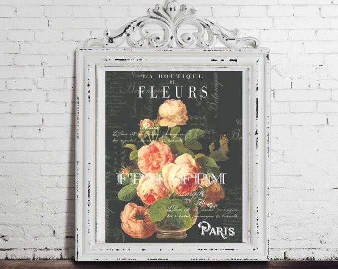 Digital Paris Chalkboard Roses, Botanical Garden Art Print, French Graphics, Pillow Transfer