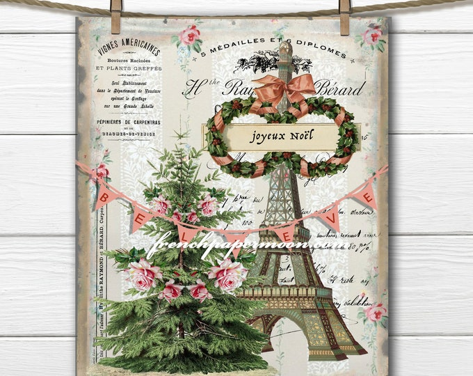 Digital Christmas in Paris Graphic, Shabby Roses, French Typography, Christmas Pillow, Printable Graphic Transfer Image 0115