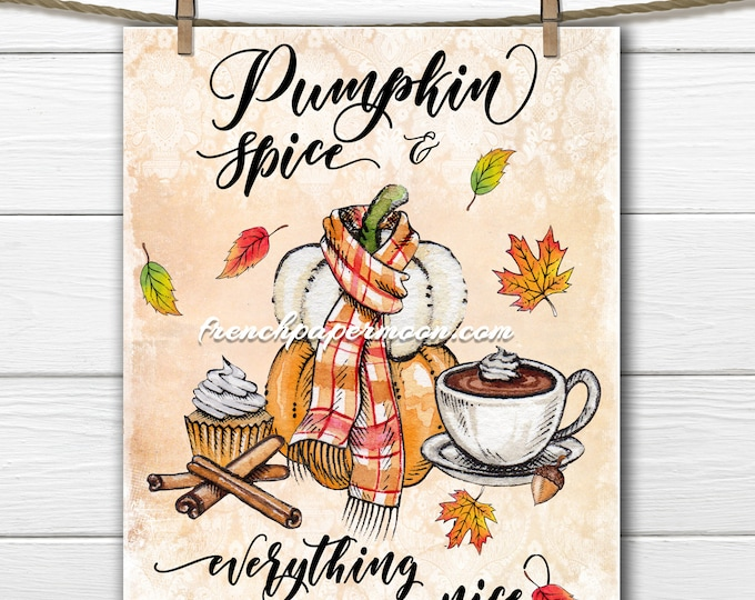 Pumpkin Spice Digital Printable Pumpkins Cinnamon Cupcake Scarf Autumn Graphic Fall Leaves Fabric Transfer Digital Image JPEG PNG