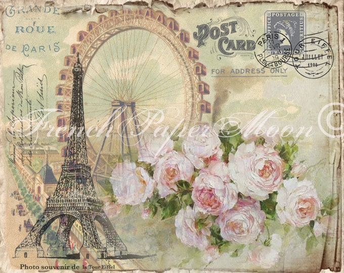 Digital Shabby French Postcard, Eiffel Tower, Ferris Wheel, Digital Collage Sheet, Instant Digital Download, Paris Transfer Graphic