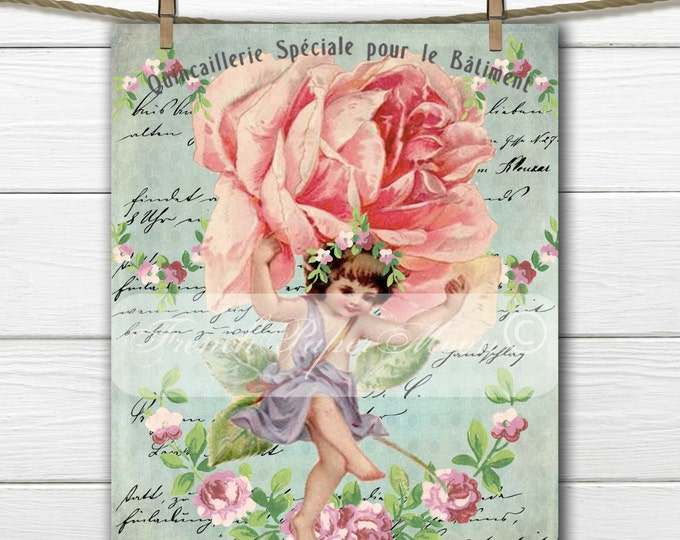 Vintage Shabby Chic Victorian Fairy, Vintage Fairy, Roses, French Typography, Instant Download Graphic Transfer