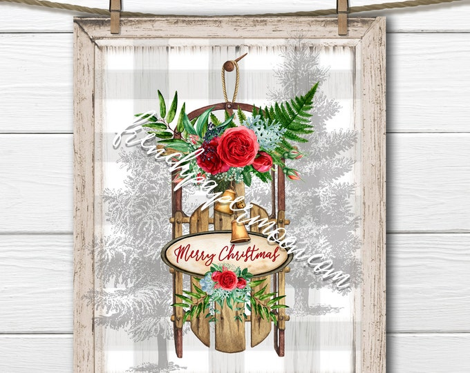 Shabby Christmas Sled Digital, Winter Sled Graphic, Floral Sled, Pillow Image, DIY Xmas Sign, Sublimation, Transparent, Plaid, Xmas