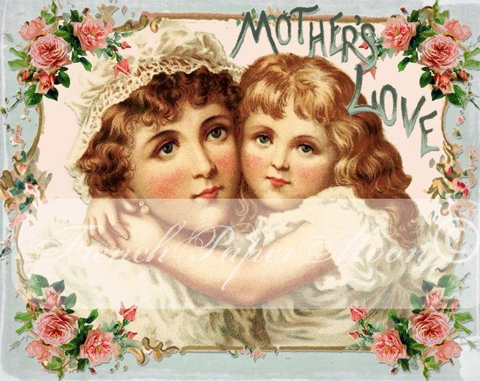 Vintage Shabby Mother's Day Digital, Mother and Child, Mother's Day Printable Transfer Graphic, Digital Pillow Image