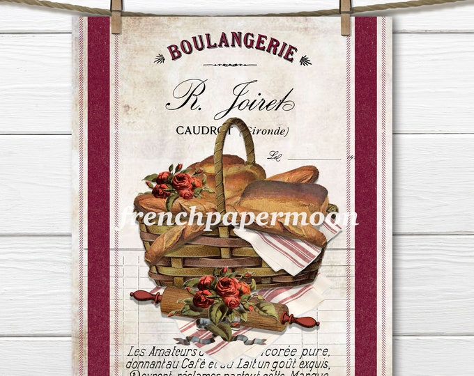 Vintage French Bakery, Boulangerie Graphic, Bread Basket, Baguette, Red Roses, Rolling Pin, Fabric Transfer, French Kitchen Print