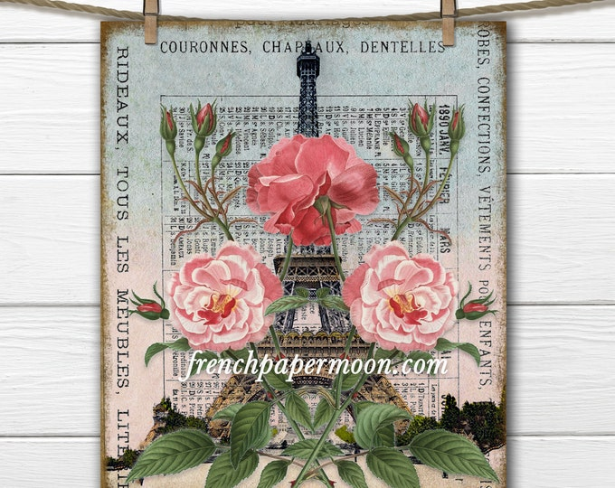 Shabby French Spring Eiffel Tower Printable, Springtime in Paris, Vintage Paris Postcard, Fabric Transfer, Craft Supply, Digital Paris