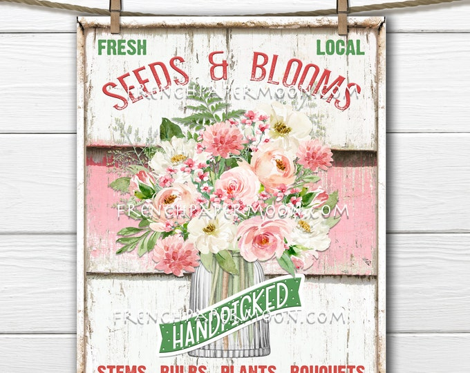 Flower Shop, Digital, Mason Jar Flowers, Flower Bouquet, Seeds Blooms, Modern Farmhouse Flowers, DIY Sign, Image Transfer, Wreath Accent