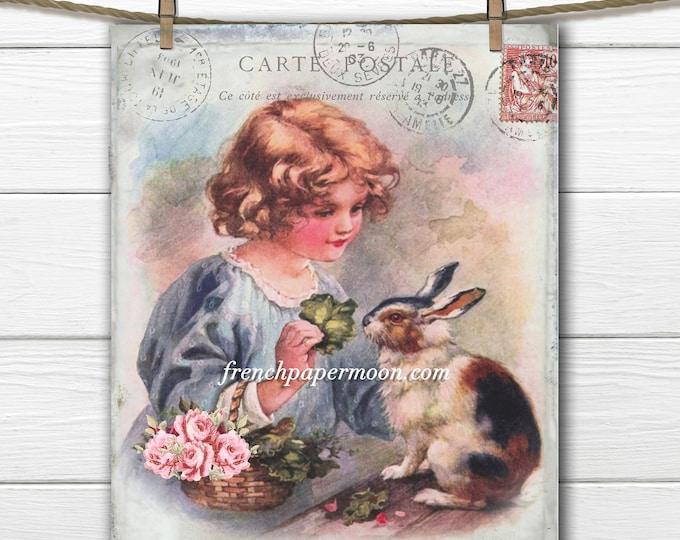 Adorable Shabby Vintage Girl and Bunny, Girl's Room Print, Easter Pillow Image, Fabric transfer, Easter Crafts, Digital Bunny Printable