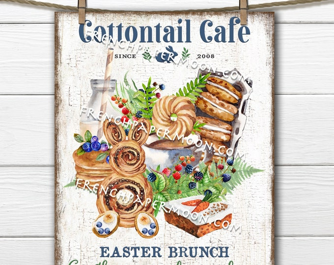 Easter Brunch, Digital, Cottontail Cafe, Easter Picnic, Carrot Cake, Berries, Pancake,  DIY Easter Sign, Wreath Decor, Pillow Image, PNG