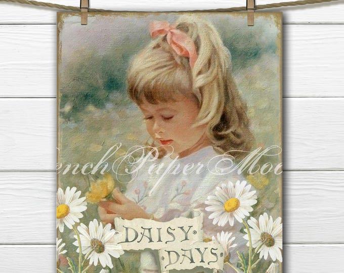 Vintage Springtime Collage Sheet, Shabby Vintage Girl, Daisies, Pillow Transfer Image, Spring Flowers, Digital Download